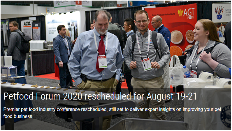 Petfood Forum 2020 rescheduled for August 19-21